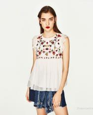 Buy Women S European And American Floral Embroidered Sleeveless Shirt Black White Black Cheap China
