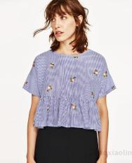 Buy European And American Embroidered Flowers Embroidered Round Neck Short Sleeve Pullover Shirt Doll Shirt Blouse Blue Oem Online
