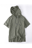 Best Offer Plain Short Sleeve Versatile Hoodies Army Green Army Green