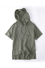 Plain Short Sleeve Versatile Hoodies Army Green Army Green Lowest Price