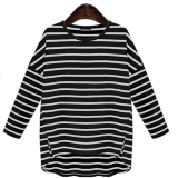 Low Cost European And American Cotton Black And White Female Bottoming Shirt T Shirt Black Black
