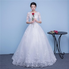 Best Offer Ever Dresses Ivory Lace Wedding Dress Embroidery Half Sleeve Bridal Gown With Train Intl