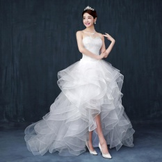 Low Cost Ever Dresses Summer Ruffles Wedding Dress Strapless Organza High Low Bridal Gown 2017 Intl