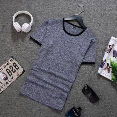 Price Men S Korean Style Trendy Slim Fit Round Neck T Shirt Gray Blue Gray Blue Online China