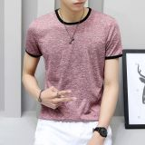 Review Men S Korean Style Trendy Slim Fit Round Neck T Shirt Pink Color Pink Color Oem On China