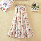 Purchase Fairy Fresh Chiffon Long Section Print Beach Dress Half Length Skirt Watercolor Powder Flower