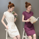 Sale Fairy The Artistic Cotton Linen White Short Sleeved Dress Aubergine On China