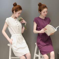 Sale Fairy The Artistic Cotton Linen White Short Sleeved Dress Aubergine