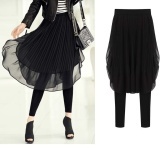 Price Comparisons Falbala 2 In 1 Plus Size M 5Xl Chiffon Light Weight Pant Style Skirt Color Black Weight 200G Intl