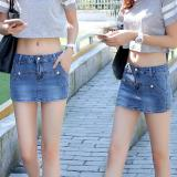 False Two Ladies Summer Denim Shorts Skirt Korean Tide Anti Shorts Dark Blue Intl Intl Reviews