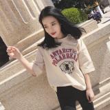 Top Rated Loose Han Chun White T Shirt Short Sleeve Neckline Beige Beige