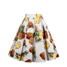How To Get Fang Fang Dressever Women S Vintage A Line Printed Pleated Flared Midi Skirts Blue Pineapple Intl