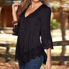 Fashion 2017 Women Elegant Lace Blouses Shirts Autumn Blusas Asymmetrical Tops Casual Solid S*xy V Neck 3 4 Sleeve Pullovers Black Intl Price