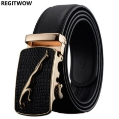 Price Compare Fashion Alloy Buckle Automatic Buckle Leather Luxury Brand Belt Business Men Belt For Men Intl