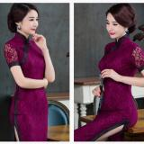 Price Comparisons Fashion Chinese Traditional Retro Lace Slim Cheongsam Qipao Dress Short Sleeve Long Wedding Dress Intl