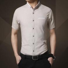 Great Deal Fashion Clothing, Mens Short Sleeve Shirt ,2017 Summer, New Mandarin Collar Slim Fit Shirt, M 5Xl Casual Shirt, Men Clothes Intl