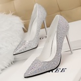 Fashion Elegant Lady Pumps Shoes High Heeled Pointed Toe Women Shoes Sliver Intl For Sale