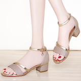 Retail Fashion Female New Style Women Shoes Semi High Heeled Sandals Women S Gold