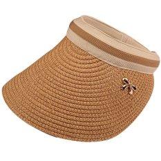 Fashion Ladies Clip-On Visor Sun Running Golf Baseball Straw Hat Khaki By Vococal Shop.