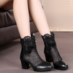 Best Fashion Leather Semi High Heeled Network Thick With Women S Shoes Single Boots Black