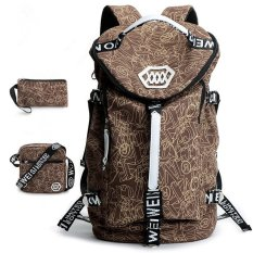 Best Price Fashion Leisure Large Capacity Backpack New Korean Men Student Back Pack Canvas Bag Big Size Coffee