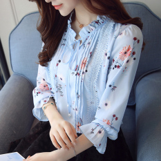 Sale Fashion Long Sleeved Autumn New Style Lotus Leaf Edge Top Chiffon Shirt Light Blue Online On China