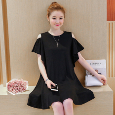 Fashion Loose Slimming Effect Off The Shoulder A Word Dress Nursing Clothes Black China