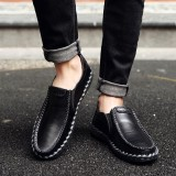 Cheap Fashion Men Cow Leather Hand Stitching Soft Slip On Casual Flats Shoes Intl