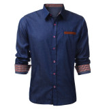 Fashion Men Long Sleeve Casual Vintage Jean Shirts On China