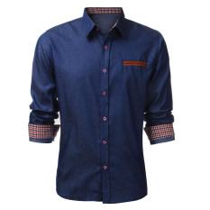 Discount Fashion Men Long Sleeve Casual Vintage Jean Shirts Podom China