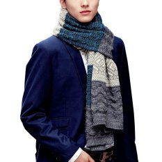 Fashion Men S Soft Touch Winter Warm Long Scarf Knitted Luxury Striped Winter Scarf Scarves Neck Warmer Scarf Neckerchief Wrap Blue Grey Intl Price Comparison