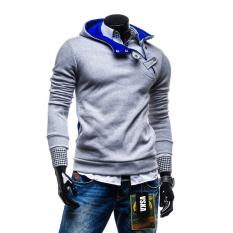 Fashion Mens Sweatshirts Hooded Sports Sweater Coat Light Grey Shop