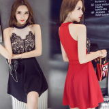 Women S Slim Fit S*xy Lace A Line Flare Skirt Red Red Coupon Code