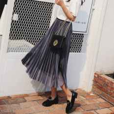 List Price Fashion Pearl Mid Length Female Skirt Pleated Skirt Gray Oem