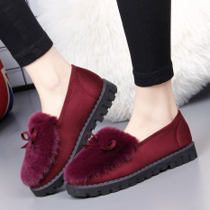 Lowest Price Fashion Plus Velvet Old Autumn And Winter Plush Shoes Thick Bottomed Cotton Shoes Red Wine