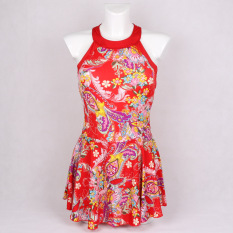 Price Comparison For Fashion Printing Ms Boxer Skirt One Piece Bathing Suit Small Pure And Fresh And Swimsuit Red