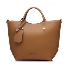 Latest Fashion Pu Leather Tote Bag Vintage Women Shoulder Bag Khaki Intl