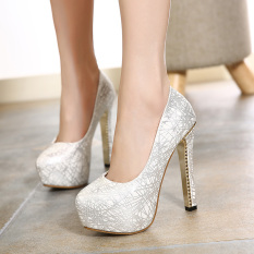 Compare Fashion Round Toe Rhinestone Women S High Heels 13Cm Thick Heel Wedding Shoes Silver Intl Prices
