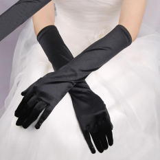 Fashion Satin Long Gloves Opera Wedding Bridal Evening Party Costume Gloves Black - Intl By Yidea Hongkong.