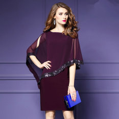 Store Women S Stylist Slim Paillette Embroidered Chiffon Dress Black Black Oem On China