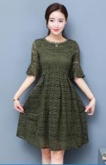Sale Fashion Lace Sheath Dress Dark Green Color Dark Green Color