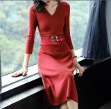 Sale Fashion Solid Color Mid Length Slim Fit Knit Dress One Step Skirt Wine Red Color Oem