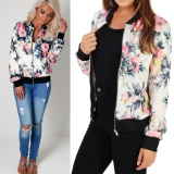 Discounted Fashion Style Women Ladies Long Sleeve Biker Short Coat Jacket Floral Printed Zip Top Outwear White Intl