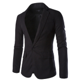 Review Fashion Stylish Cotton And Linen Blend Men S Blazer Coat Jacket Casual Slim Fit One Button Suit Black Intl Intl On China
