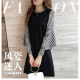 Sale Fashion Summer Women Korean Style Splicing Dress Stripe Long Sleeve Dress Autumn Winter Korean Style Ruffle Sleeve Dress Bodycon Solid Slim Fit Long Sleeve Dress Black Intl China