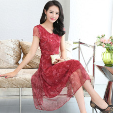 Price Fashion New Style Female V Neck Floral Print Maxi Chiffon Dress Red Other Online