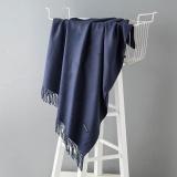 Fashion Winter Scarves Women Shawls Thicken Warm Scarves Wool Cashmere Scarf Tassels Woman Shawl Wrap Gifts Navy 200X70Cm Intl Shopping