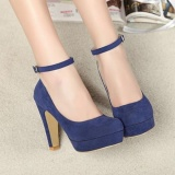 Purchase Fashion Women Ankle Strap High Heels Platform Stilettos Suede Pumps Shoes Intl