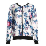 Cheapest Fashion Women Biker Camo Flower Printed Bomber Long Sleeve Jacket Coat Intl