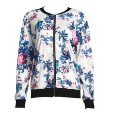 Discounted Fashion Women Biker Camo Flower Printed Bomber Long Sleeve Jacket Coat Intl